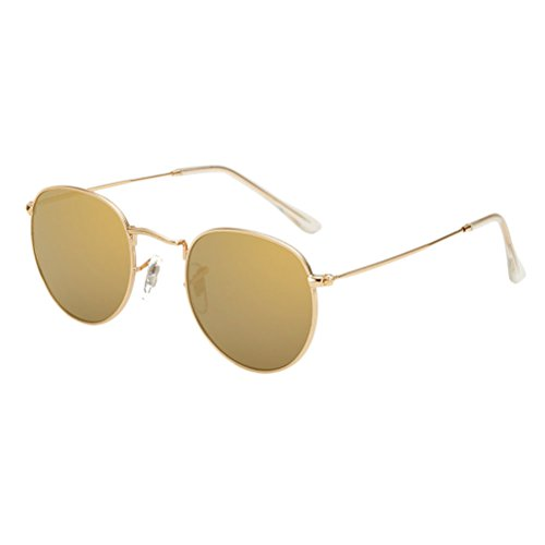 amp;gold Gold Storage de Oversized Zhhlaixing Mujer Retro Metal Sunglasses Gafas with sol Classic UV400 Diseño Round Case qfpwgHaB