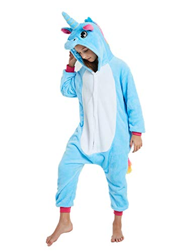 ABENCA Kids Fleece Onesie Unicorn Pajamas Animal Christmas Halloween Cosplay Costume (Height 120cm/3'11, D - Blue Unicorn)