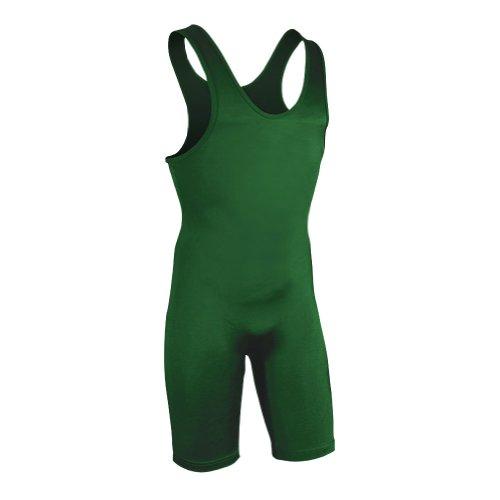 Brute Men's Lycra High Cut Wrestling Singlet,Hunter,Youth Medium (55-70 LBS) (Youth Singlet Green)