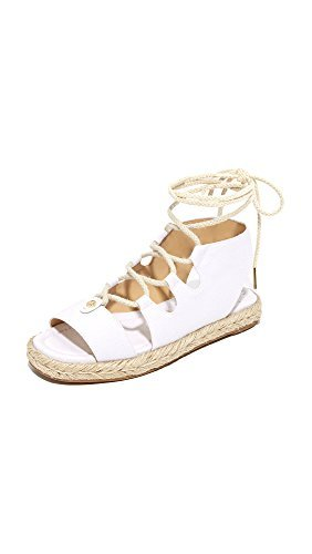 Open Toe Kors Sandals Michael (MICHAEL Michael Kors Womens McKenna Canvas Open Toe, Optic White, Size 5.0)