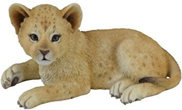 5.13 Inch Cute Lion Cub Decorative Statue Figurine, Tan and White - Lion Cub Figurine