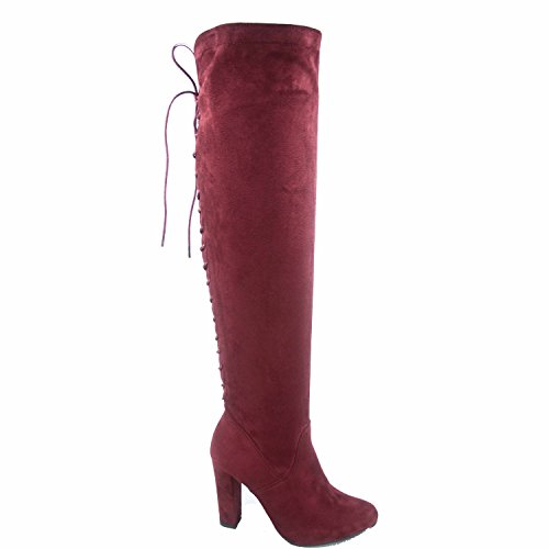 Top Moda Zola-22 Women's Back Lace Up Chunky Heel Thigh Knee High Boots Shoes (Wine, 9)