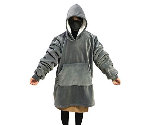 MONOBLANKS Giant Warm Oversized Blanket Sweatshirt One Size for All,Soft and Comfortable Large Front Pocket Blanket Sweatshirt (Grey)