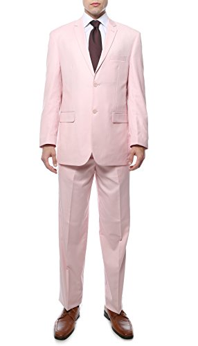 [40R Ferrecci FE28001 Mens Light Pink Regular Fit 2pc Suit] (Pink Man Suit)