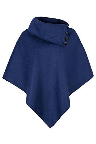 Apparel - Outlet AO - Poncho con cuello para mujer (tallas: S-XL) Azul