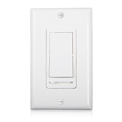 Maxxima 3-Way / Single Pole Decorative LED Slide Dimmer Rocker Switch Electrical light Switch 600 Watt max, LED Compatible, Wall Plate Included