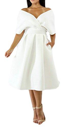 Lungo Moda Cromoncent Manica Corta Di Backless V Altalena Donne Puro Colore Bianco Scollo Sexy A Delle Vestito XqHx1dtXw