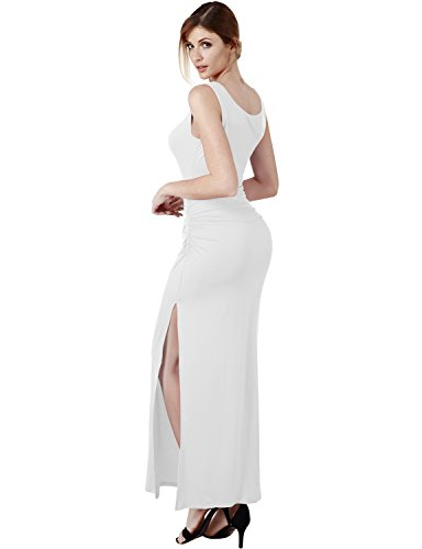 Elbon Boutique Womens Sleeveless Side Shirring Waist Maxi and Midi Dress WHITE 2XL