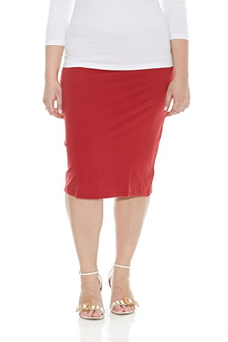 Esteez Plus Size Skirt for Women Cotton Spandex Comfy Basic Knee Skirt RED ()
