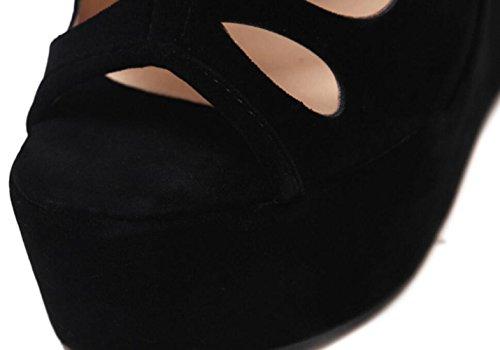 Talons Bout Wedge Ouvert Nouvelle Plate Sandales Womens Étanche Été Daim Black Linyi forme Suède qRwABCxwZ