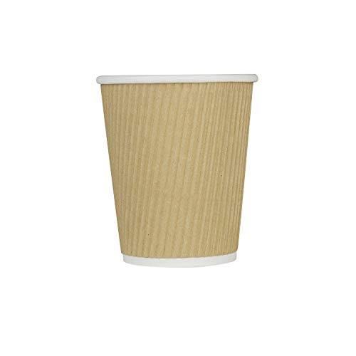 Karat C-KRC510 10 oz Ripple Paper Hot Cup (90mm Diameter), Kraft (Case of 500)