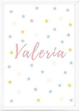 Papers rain Lámina Infantil 21x30 Personalizada con el Nombre de Valeria Ideal decoración habitación, Regalo Nacimiento, Bautizo. -Stars- Se envía Desde España: Amazon.es: Hogar