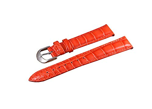 BGRFEB 16-22mm High-end Deluxe Red Women's Deluxe Patent Leather Watch Bracelet for Girls Genuine Italian Calf Skin Alligator Embossed (Size : 18mm)