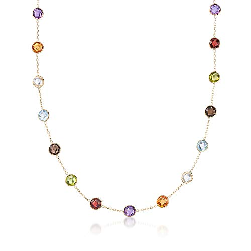 Ross-Simons Certified 16.30 ct. t.w. Bezel-Set Multi-Gemstone Station Necklace in 14kt Yellow Gold