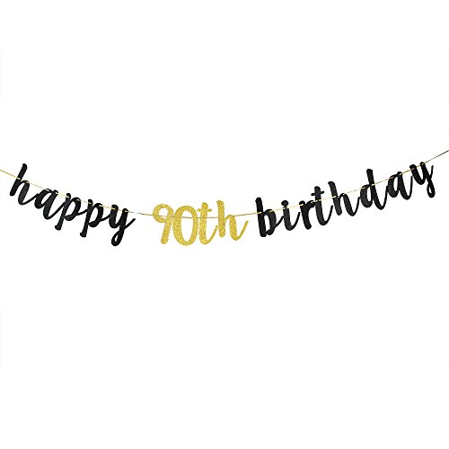 Happy 90th Birthday Banner, Black Glitter 90th Birthday Party Decoration Sign]()