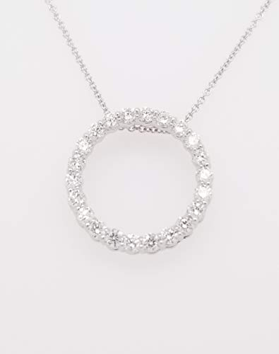 - Round Diamond Circle of Life Pendant Necklace, 14K White Gold, Adjustable Chain (1ct, G-H Color, SI2-I1 Clarity)
