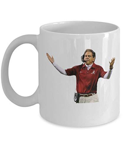 Nick Saban Alabama Football Coffee Mug Cup (White) 11oz Alabama Football Head Coach Roll Tide Gift Merchandise Accessories Decal Sticker Shirt Pin Dec