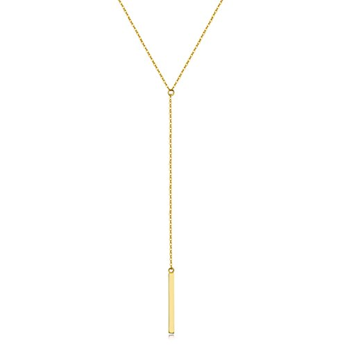 (Metzakka Sterling Silver Lariat Necklace, Minimalist Chic Drop Bar Y Chain Necklace for Women (Gold))