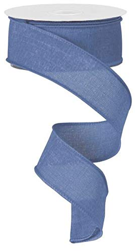 Solid Canvas Wired Edge Ribbon, 10 Yards (Denim Blue, 1.5