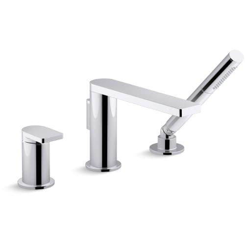 KOHLER K-73078-4-CP Composed Single-handle Deck-mount Bath Faucet with Handshower, Polished Chrome (Handshower Single Handle)