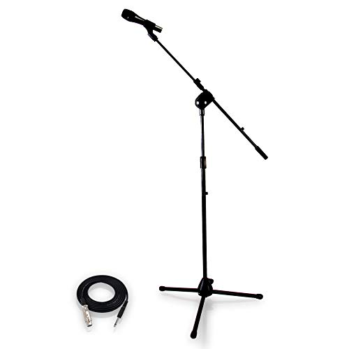 PYLE-PRO Dynamic Microphone and Tripod Stand -  Height Adjustable from 2.6' to 5.1' ft and Telescoping Boom Arm Mic Length 7.48'' Inch w/ Acoustic Pop Filter - Includes 15' ft XLR Cable PMKSM20