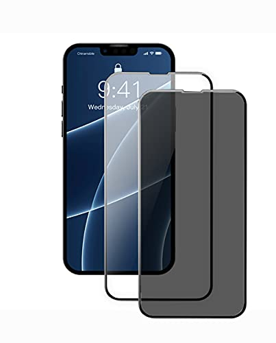 [2 Pack]Compatible for iPhone 13 /iPhone 13 Pro 6.1 Transparent High-Definition Tempered Glass Film, Privacy Screen Protection Film,Full Screen Tempered Glass Film, 9H Hardness, Anti-Scratch, Anti-Spy, Easy to Install