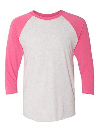 Pink Raglan - Next Level Mens Tri-Blend 3/4-Sleeve Raglan Tee (6051) -VT PINK/HT -M