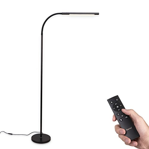 Barrina LED Floor lamp Dimmable and Color Adjustable 3000K-5500K 12W with Remote Control Sensor Touch Switch Flexible Standing Light for Reading Living Room Bedroom Office Modern Black