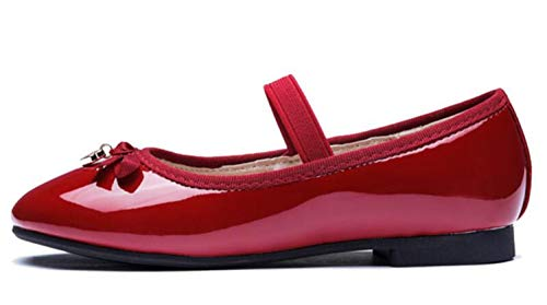 GESELLIE Girls Mary Jane Slip-on Ballerina Strap Pendant Flat (Toddler/Little Kid) Red