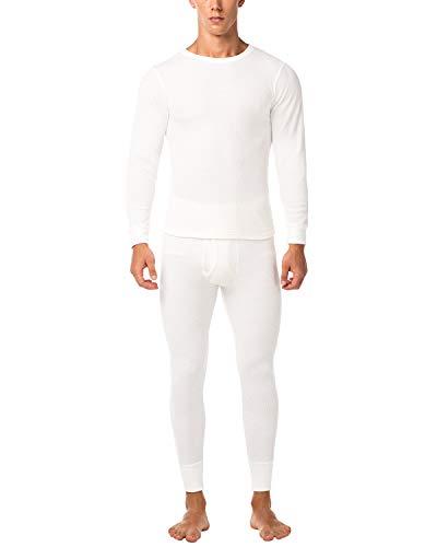 LAPASA Men's Thermal Underwear Long John Set Waffle Knit Base Layer Top and Bottom M11 (X-Large, Waffle Knit White)