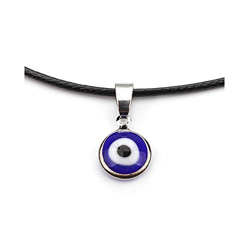 (WLLAY Blue Evil Eyes Pendant Choker Necklaces for Womens (Black Leather))