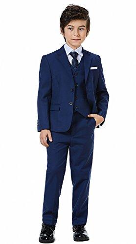 Boys Classic Formal Dress Suits Set 5 Piece Slim Fit Dresswear Suit (8, Navy Blue 2) by WQI.HAN (Image #7)