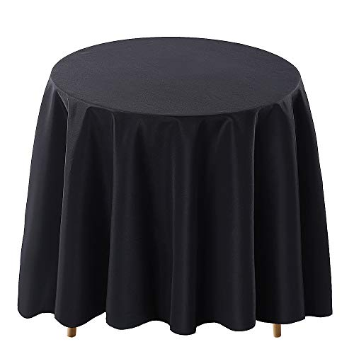 Surmente Tablecloth 120 Inch Round Polyester Table Cloth for Weddings, Banquets, or Restaurants (Black) ...