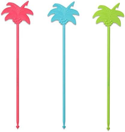 FACKELMANN Partypicker Palme, Kunststoff, Mehrfarbig, 24 x 6 x 0,3 cm, 12-Einheiten