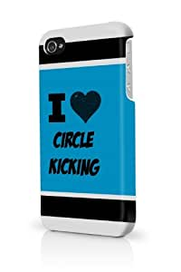 Circle Kicking Blue iPhone 4 Case Fits iPhone 4 & iPhone 4S Full Print Plastic Snap On Case