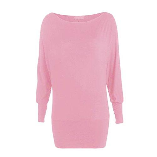 casual Camicia da Rosa FuweiEncore casual Camicetta shirt Semplice Maglia girocollo Tunica donna T Manica Pullover lunga Spalla Nuda OOqWc7STng
