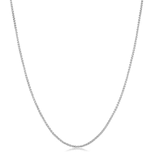 Platinum Chain Wheat Solid - Kooljewelry Sterling Silver 1.1mm Round Wheat Chain Necklace (24 inch)