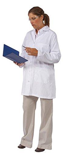ERB Safety 82526 L1 Female Lab Coat, 10'' Length, Large, White