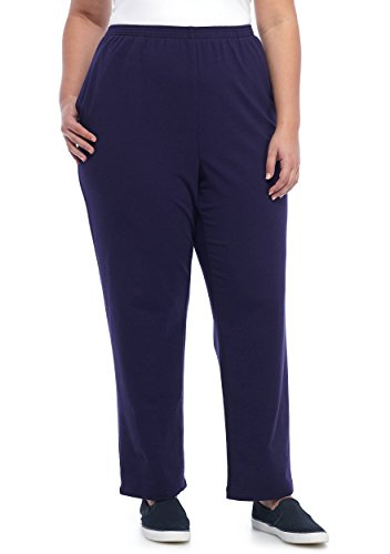 Alfred Dunner Womens' Plus Royal Jewels French Terry Proportioned Pants, Amethyst (24W Short) (Dunner Alfred Blazer)