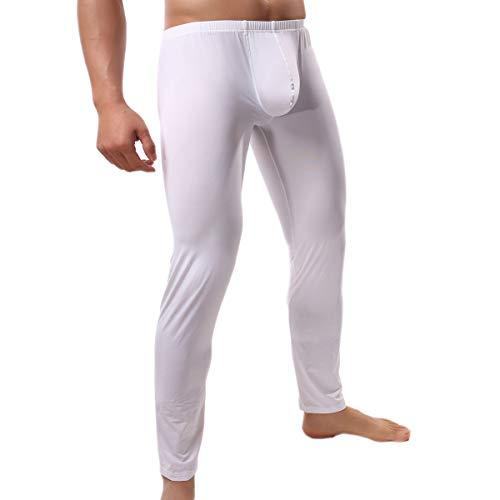 (QiaTi Men's Tight Long Underwear Sexy Long Pants Sexy Tight Underwear Soft Compression Underwear for Men Long Leggings Pants (XX-Large (fits Like US X-Large), New White))