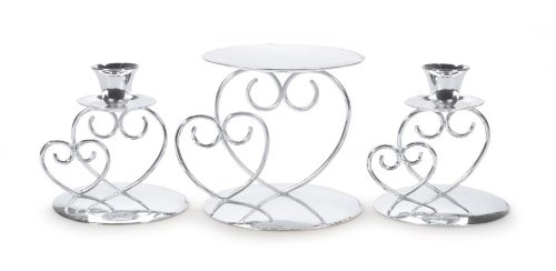 Two Hearts Unity Candle - Darice Victoria Lynn Unity Candle Holder 3-Piece Set - Includes 2 Taper Candle Holders, 1 Pillar Candle Holder - Elegant Open Combined Hearts Design - Perfect for Wedding Ceremony, Silver