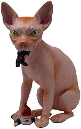 Mischievous Wicked Sphynx Hairless Cat Garden Gnome Massacre - a Great Gardening Statue Figurine Decoration - Funny Unique Gnomes Lawn Ornament Figure Sculpture for Indoor Outdoor Home Decor (Pink)