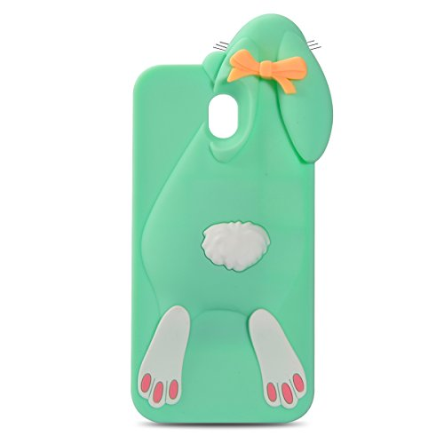 Samsung Galaxy J5 Pro (2017) Conejo Funda, Vandot Fashion 3D Lovely Cartoon Buck Teeth Bunny Rabbit Rubber Series Soft Silicone Back Case Cover para Samsung Galaxy J5 Pro (2017) J530 Case, Protección  Rabbit Verde