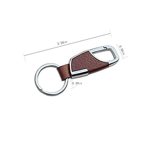 2PCS Stainless Steel Key Chain with Leather Heavy Duty Home Office Car Keychain with Key Ring Key Holder for Men and Women-Brown & Black Photo #3