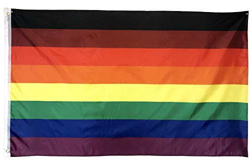 Gala Supplies LGBTQ Gay Lesbian Pride Rainbow Flag | Philly/Philadelphia New 8 Stripes Black & Brown, 3ft x 5ft Polyester, Be Proud Flag (1) ()