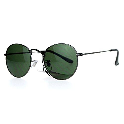 SA106 Vintage Style 90s Snug Fit Oval Round Metal Sunglasses Gunmetal - Fashion Sunglasses 90s