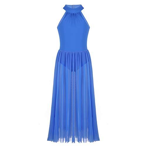 YONGHS Kids Girls Sleeveless Mock T-Neck Leotard Bodysuit with Mesh Maxi Skirt for Lyrical Modern Contemporary Dance Blue 12