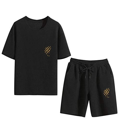 Answerl☀ Men's 2 Piece Tops with Shorts Set Summer Short Sleeve Lounge Cotton Classic Casual Shirt & Shorts with Drawstring -