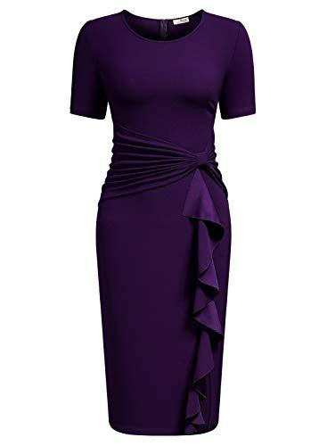 AISIZE Women 50s Vintage Ruffle Peplum Cocktail Pencil Knee Dress XX-Large Purple