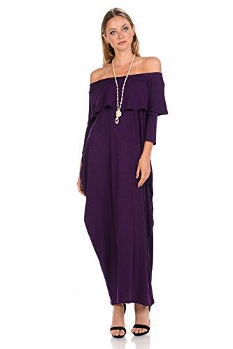 Pastel by Vivienne Women s Off-Shoulder Maxi Dress Medium Eggplant 1da3211cd